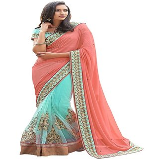 Priyanka Trends Saree Peach and Skyblue Colour Net  Georgette Fabric Multiwork Sarees