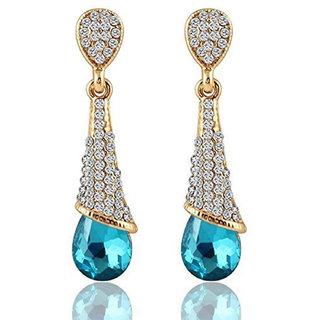 Mahi Gold Plated Fancy Party Wear Blue Austrian Crystals Dangler Earrings for Women ER1109426GBlu