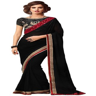 Priyanka Trends Saree Black Colour Georgette Silk Fabric Multiwork Sarees