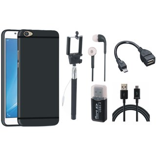 Redmi 4 Silicon Anti Slip Back Cover with Memory Card Reader, Selfie Stick, Earphones, OTG Cable and USB Cable