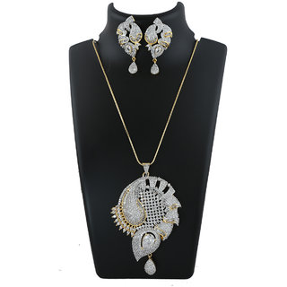 Anuradha Art Golden Finish Simple Designer Studded Stone American Diamond Pendant Set For Women/Girls