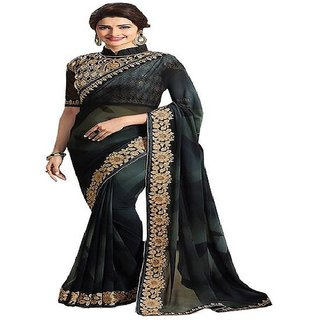 Priyanka Trends Saree Black Colour Georgette Fabric Multiwork Sarees