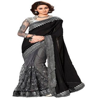 Priyanka Trends Saree Black Gry Colour Georgette Fabric Multiwork Sarees