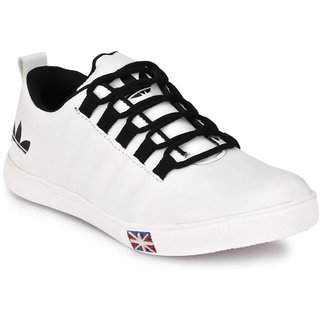 S37 White Synthetic TPR Lace-up Casual Sneakers For Men