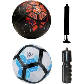 Kit of CR7 Black/Red + Laliga Blue/White with Air Pump & Sipper