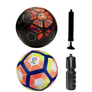 Kit of CR7 Black/Red + Laliga Orange/Yellow with Air Pump & Sipper