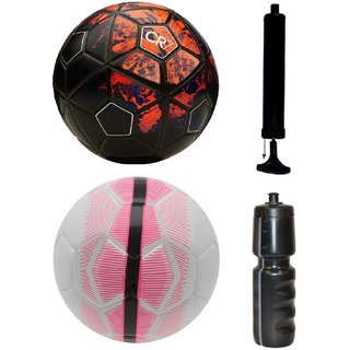Kit of CR7 Black/Red + Mercurial White/Pink with Air Pump & Sipper