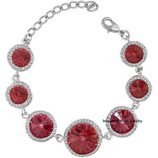 Oviya Valentine Rhodium Plated Lovely Circular Link Bracelet with pink Crystal BR2100312RPin