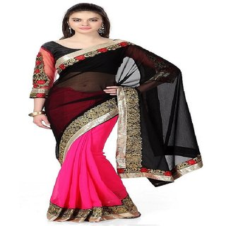 Priyanka Trends Saree Pink Black Colour Georgette Fabric Multiwork Sarees