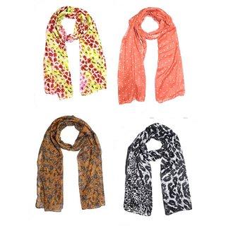 Sri Belha fashions Printed Cotton Scarf Stole For Womens & Girls Set Of- 4