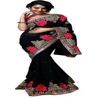 Priyanka Trends Saree Black Pink Colour Georgette Silk Fabric Multiwork Sarees