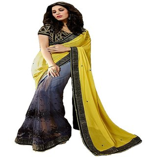 Priyanka Trends Saree Gray Black Colour Georgette Silk Fabric Multiwork Sarees