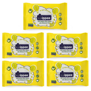 Wippee 10N Usable Baby Wipes With Almond Oil ( Pack Of 5)