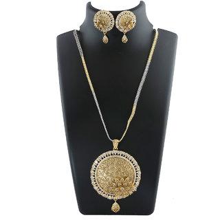 Anuradha Art Golden Finish Flower Styled Designer Classy Studded American Diamonds Pendant Set For Women/Girls