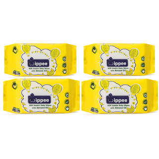 Wippee 80N Usable Baby Wipes With Almond Oil ( Pack Of 4)