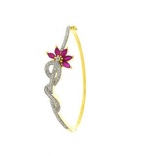 Anuradha Art Golden Finish Classy Pink Colour Wonderful Studded Shimmering American Diamonds Stone Hand Bracelets Kada For Women/Girls