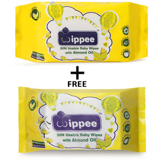 Wippee 80 N Usable Baby Wipes With Almond Oil ( Get Wippee 30 N Free)