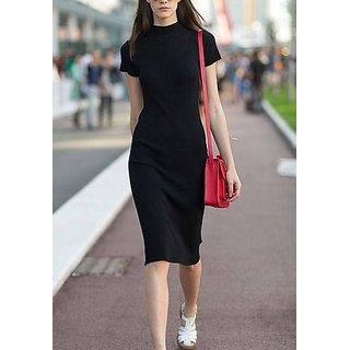 Rimsha black polo neck regular fit mini dress
