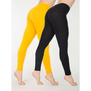 Cotton Lycra Leggings - Pack of 2 Black/Yellow