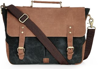 The House of Tara Leather and Distressed Finish Canvas Laptop/ Office/ Messenger Bag (Midnight Blue) HTMB 058