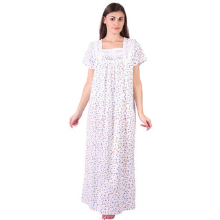 fe8e56a037 LDHSATI Fashion Women Serena Satin flower Printed Lace nightwear night dress  sleepwear Maxi Nightgown for women women s free size Multicolor