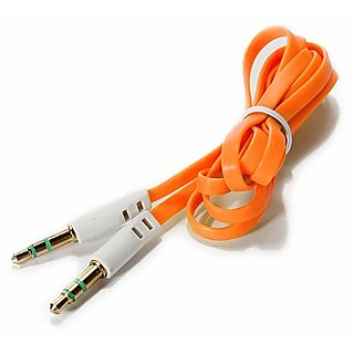 Long and Flat Aux Cable (Safron Color) by KSJ Accessories