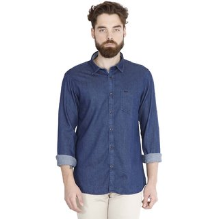 Jdc Denim-Uf Men'S Dark Blue Color Cotton Shirts