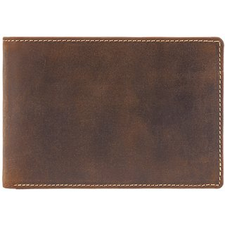 Visconti Hunter Bi-Fold Oil Tan Genuine Leather Wallet For Men & Women With RFID Protection