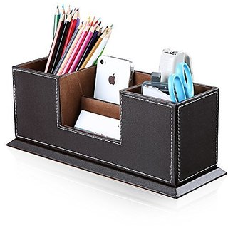 Buy artikle office multi functional pu leather desk organiser tidy artikle office multi functional pu leather desk organiser tidy business card pen mobile phone remote reheart Image collections
