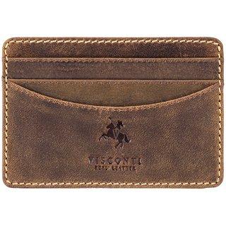 Visconti Slim Oil Tan Genuine Leather Card Case For Men