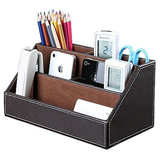 Buy artikle office multi functional leather desk organiser tidy artikle office multi functional leather desk organiser tidy business card pen mobile phone remote control reheart Image collections