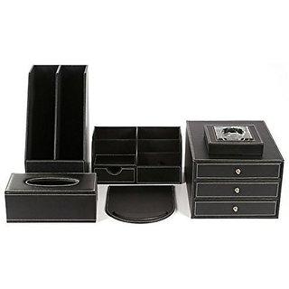 Artikle Leather 6pcs Office Desk Organizer Set Including 3 Drawer File Cabinet