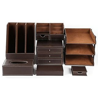 Artikle Leather 8pcs Office Desk Organizer Set With 3 Tier File Tray