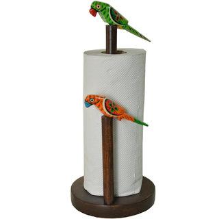 Curiofact Decorative Wooden Colourful Parrot Theme Kitchen Napkin Roll Dispenser Holder
