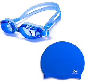 Combo of Swimming  Cap and Swimming Glasses With Free Ear Plugs