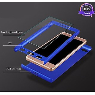 the latest 09eca a761a SK REDMI 4A iPAKY 360 Degree Full Protection Front Back Cover Case with  Tempered Glass+ Cleaning paper For Redmi 4A 360 Degree Blue Color