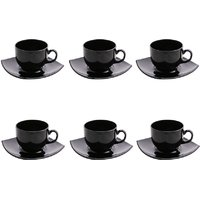 LUMINARC QUADRO BLACK CUP  SAUCER , (PACK OF 6) (Black, Pack of 6)