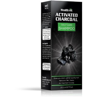 Healthvit Activated Charcoal Deep Cleansing Shampoo 200ml. Removes Dirts Impurities Pollution From Hair Scalp