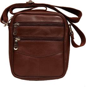 Leather World Brown Color Genuine Leather Men sling bag or small Travel Bag