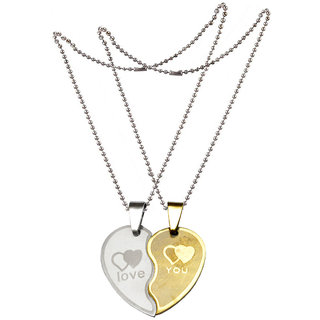 Men Style New Couple Lovers Heart For Friendship Gift (2 pieces - his and her) Gold and Silver Stainless Steel Heart Pendant