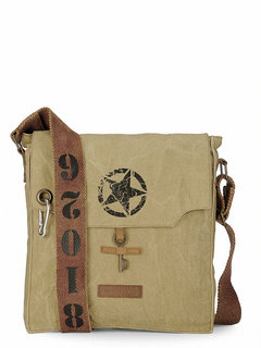 The House Of Tara 100 Cotton Canvas Messenger Bag in distress Finish (Desert Strom)