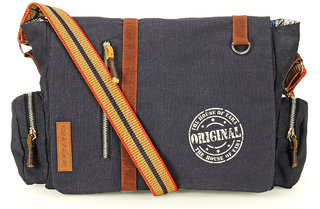 The House Of Tara Vintage Canvas Crossbody Travel Office Business Messenger Bag (Midnight Blue) HTMB 052