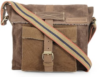 The House Of Tara Dual Tone Distress Finish Canvas Messenger Bag (Rustic Brown) HTMB 062
