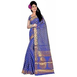 GANGA SHREE Multicolor Banarasi Silk Self Design Saree With Blouse Piece