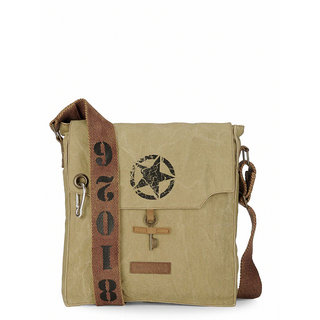 The House Of Tara 100 Cotton Canvas Messenger Bag in distress Finish (Desert Strom)