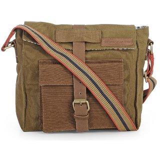 The House Of Tara Dual Tone Distress Finish Canvas Messenger Bag (Khaki)  HTMB 061 f381072e5928c