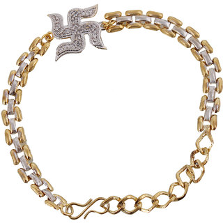 Be You Real Diamond Look Swastik Rakhi Bracelet for Bhaiyaa