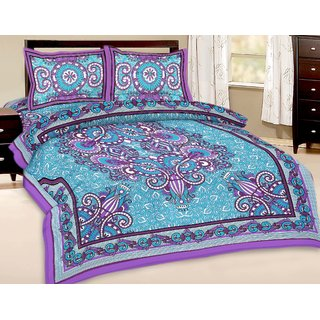 Vihaan Impex Double Cotton Multi Printed Bed Sheet VIDBS2799