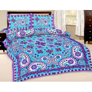 Vihaan Impex Double Cotton Multi Printed Bed Sheet VIDBS2861