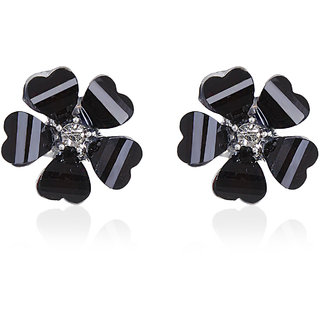 Fasherati  Leaves Clover Center Crystal Flower Stud Earrings for Girls